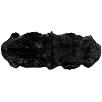 black sheepskin rug. Genuine Australian Black Sheepskin Rug Two Pelt Fur Rug, Double B