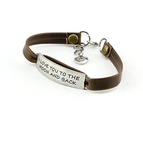 Yiyang Birthday Day Gift for Girls Leather Bracelet Inspirational Engraved I Love You to the Moon and Back by Yiyang (Image #1)