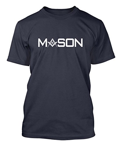 Mason - Square & Compass Men's T-shirt Tee (XL, NAVY BLUE)
