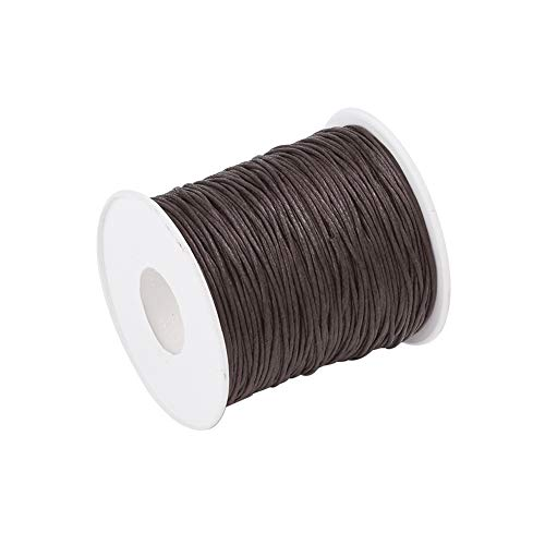 Craftdady 100 Yards 1mm Waxed Cotton Cord Macrame Bracelet Necklace Jewelry Making Waxed Beading Thread String (CoconutBrown)