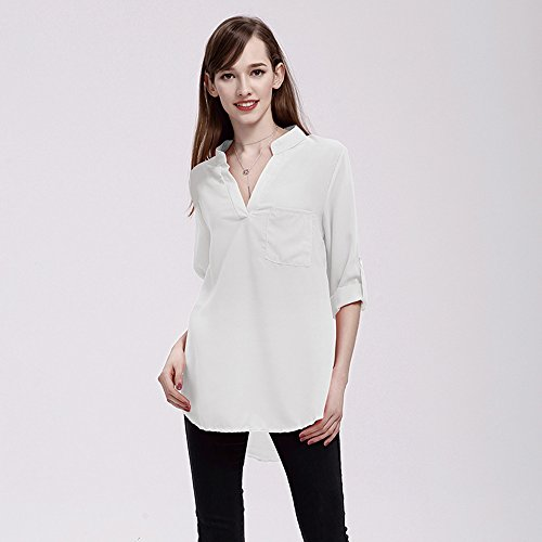 Manches en Taille Longues Youthny Mousseline Grande Col Blanc Chemise Femme V zBqwqCYE