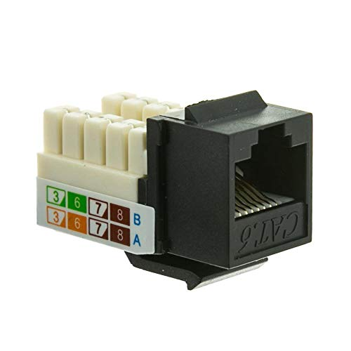 GOWOS (20-Pack) Cat6 Keystone Jack, Black, RJ45 Female to 110 Punch Down ()