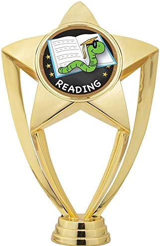 Crown Awards Reading Trophies with Custom Engraving 6 Personalized Reading Bookworm Trophy On Black Base