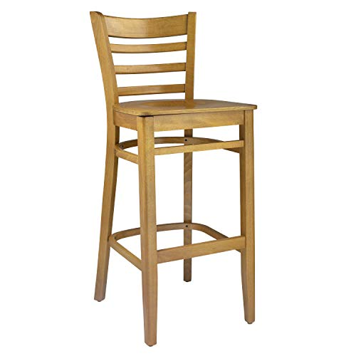 (Beechwood Mountain BSD-5B-C Solid Beech Wood Bar Stool in Cherry with wood seat for Kitchen and dining)