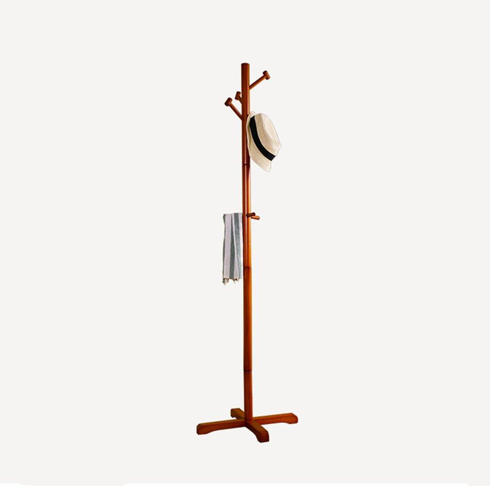 Four-color coat rack / floor bedroom hanging hanger / simple solid wood coat rack / hanger main rod diameter 4cm, (50 50 175cm) ( Color : Honey color )