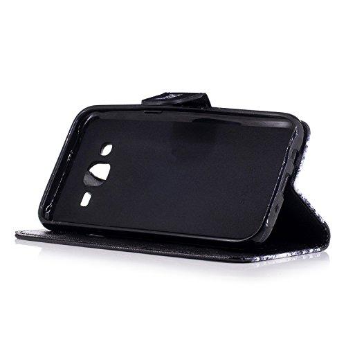 TOCASO Funda de Cuero Samsung Galaxy J510 2016 Cuero Funda Piel para con Tapa Samsung Galaxy J510 2016 [Garantía de por vida] Soporte Plegable Ranuras para Tarjetas y Billetes Estilo Libro Cierre Magn Gatos curiosos