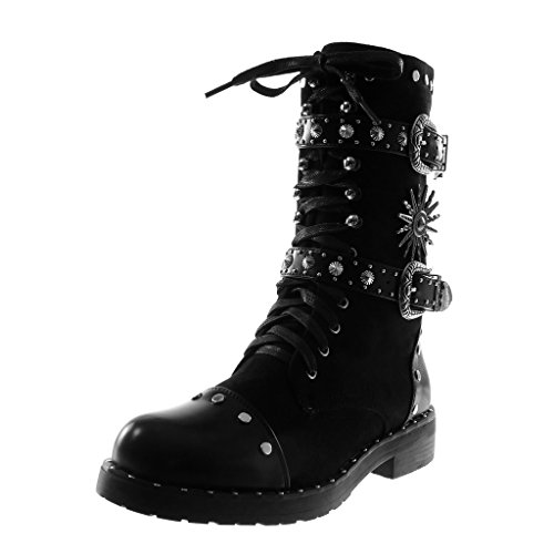 Combat Angkorly Booty Biker Women's 3 Boots Block Shoes Thong cm Laces Fashion Ankle 2 High Boots Studded 5 Black Heel YxrXYqwR0