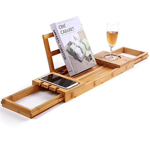 Utoplike Unique Bamboo Bathtub Tray Wooden Bath Caddy Tray with Extending Arms,Spa Relaxing Bath Organizer Tray Holds Books/Tablets/ Cell Phone/Towels/Foods