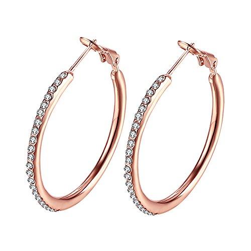 Large Gold Rhinestone Hoop - 18k Rose gold plated Cubic Zirconia Hoop Earrings, Rhinestone Earings For Women Or Girls