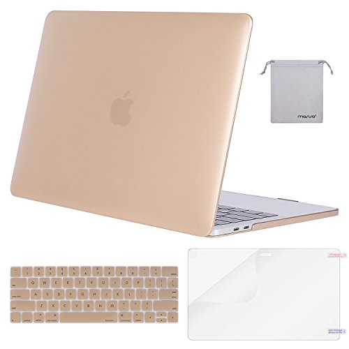 MOSISO MacBook Pro 15 Case 2018 2017 2016 Release A1990/A1707 Touch Bar Models, Plastic Hard Shell & Keyboard Cover & Screen Protector & Storage Bag Compatible Newest Mac Pro 15 Inch, Gold