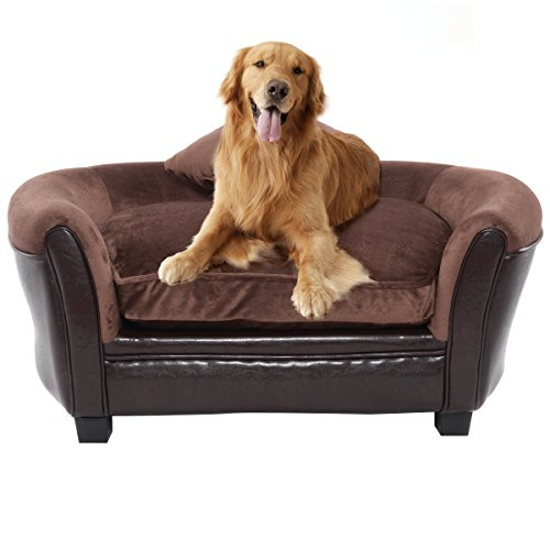 Giantex Pet Sofa Ultra Plush Lounge Sofa Bed Comfortable Puppy Cat Dog Sleeping Home Snuggle Couch Pet Bed with 2 Removable Cushions for Indoor Use (Brown)