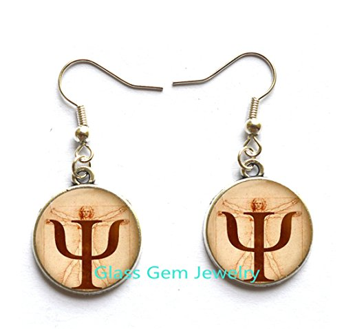 PSI Symbol Earrings , Psychology Stud Earrings, Jewelry,Gift for Psychologist,,Photo, Anatomy Picture Stud Earrings Choker Earrings ,Q0252 ()