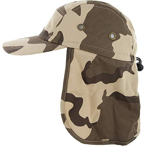 RufnTop Fishing Cap with Ear and Neck Flap Cover UV Protection(Adult, Desert Camo)