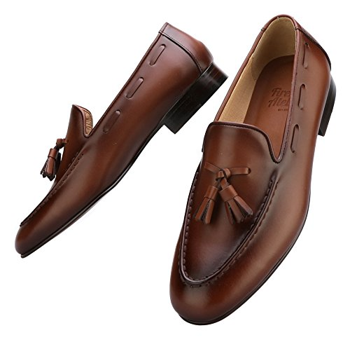 Firenze Atelier Men's Handmade Full Grain Leather Tassel Slip-On Loafers Penny Loafers (US 10, Wine Brown)