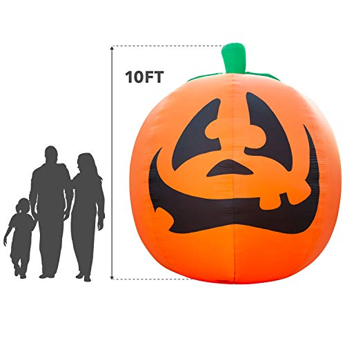 Holidayana Giant 10 Ft Airblown Inflatable Halloween Pumpkin- Inflatable Halloween Decoration Super Bright Internal Lights, Built in Fan & Anchor Ropes for $<!--$119.99-->