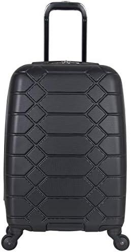 Aimee Kestenberg Diamond Anaconda Women s 20 Lightweight Hardside 4-Wheel Spinner Carry-On Suitcase, Black
