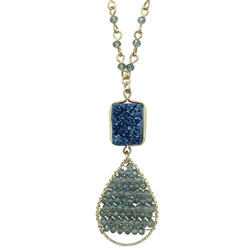 Natural Stone Druzy Drusy & Glass Beaded Simple Small Dainty Boutique Gold Tone Chain Necklace - Assorted Colors (Blue)
