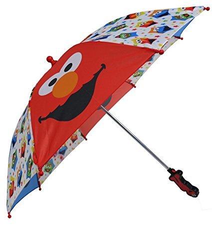 (123 Sesame Street Boys Umbrella - 3D Elmo Handle)