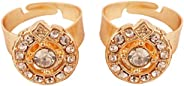 Touchstone Indian Bollywood Pretty Ethnic Studded Designer Jewelry Toe Ring for Women.