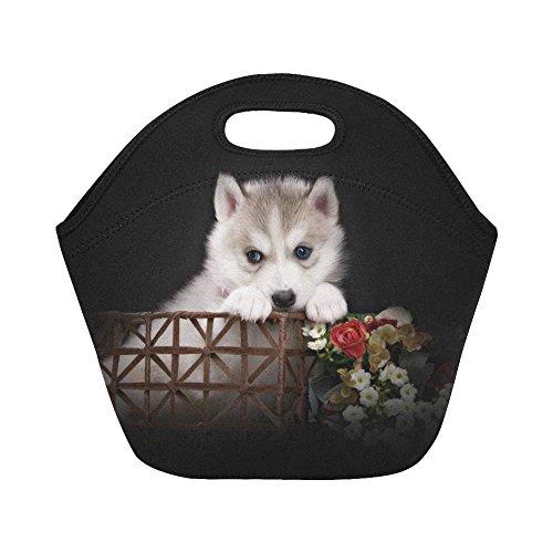 InterestPrint Cute Husky Basket Reusable Insulated Neoprene Lunch Tote Bag Cooler 11.93