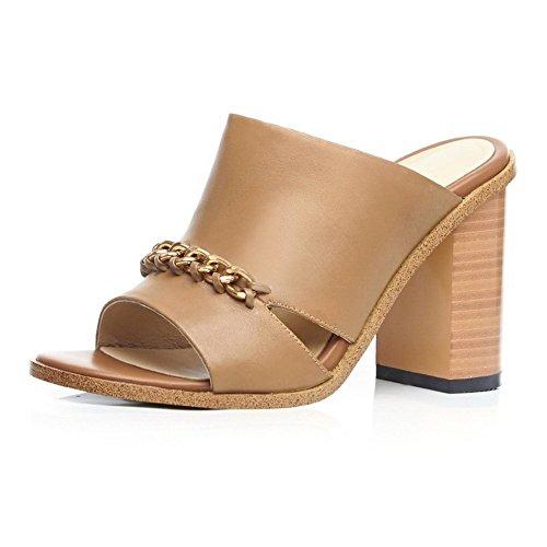 Pantofole In Pelle Di Mucca Con Tacco Alto Da Donna In Metallo Balamasa Marrone