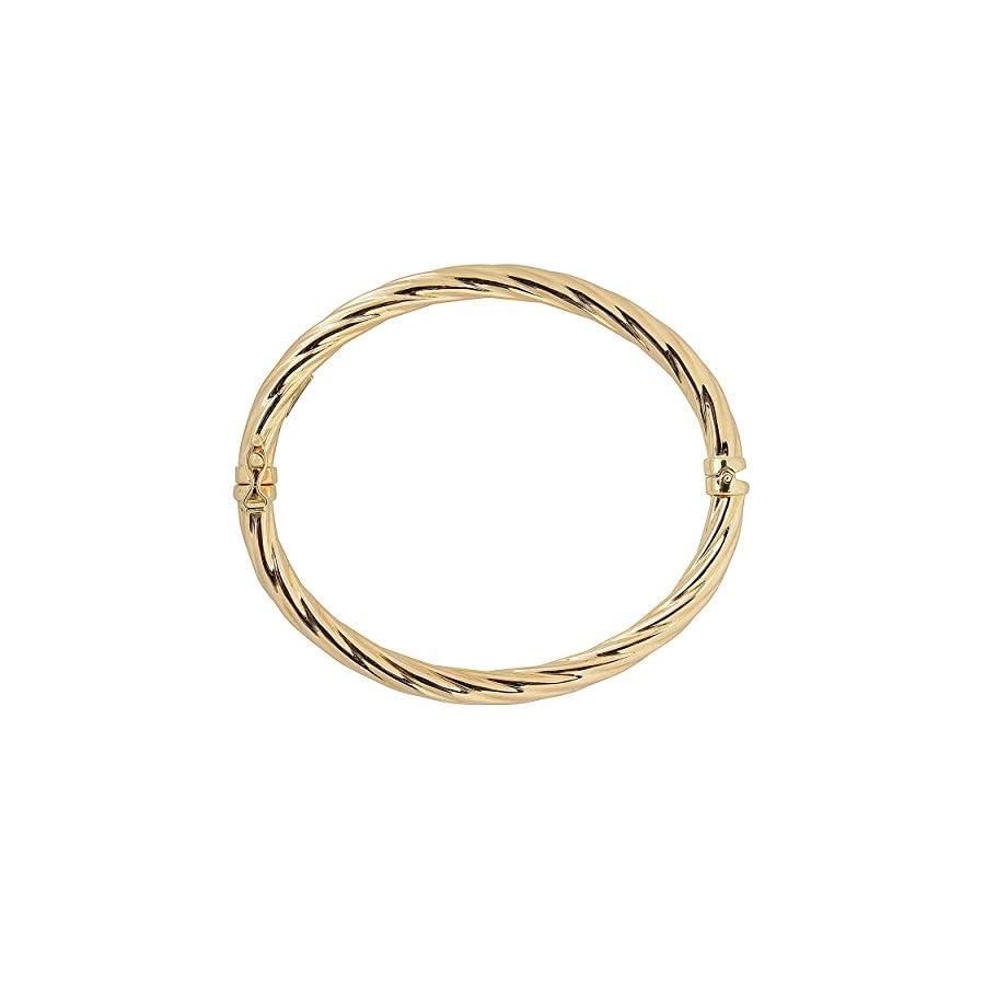 Kooljewelry 14k Yellow Gold 5mm High Polish Twist Design Bangle Bracelet