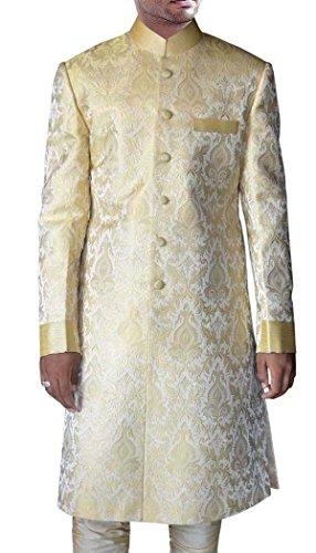 INMONARCH Mens Golden Brocade 2 Pc Jodhpuri Sherwani SH425S54 54 Short Golden by INMONARCH