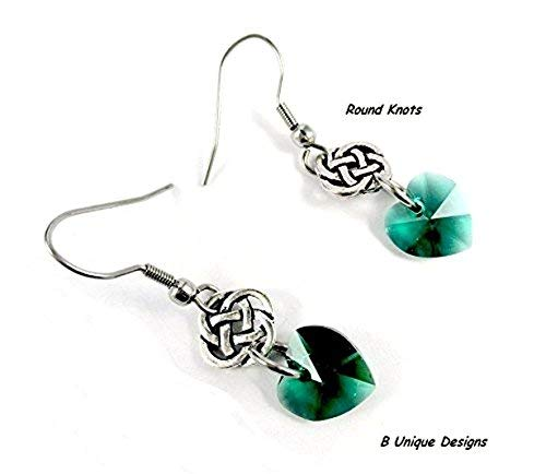 (Celtic Knots & Hearts for St Patrick's Day Gift Emerald Green Swarovski Crystal Heart Eternity Endless Knot Earrings, Irish Luck, Handmade Jewelry)