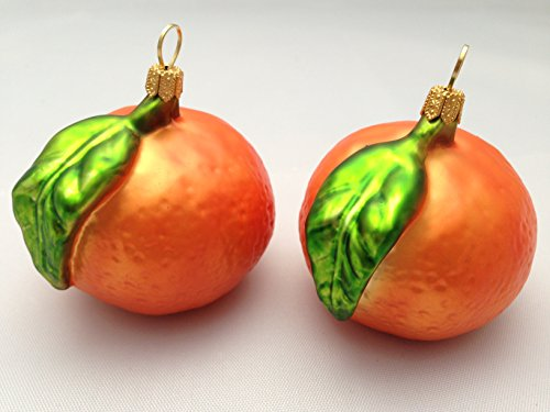 2 Pc Tangerines Mandarines Half Glass Handmade Christmas Ornaments Hangers Decoration Fruit (Poland Glass Ornaments)