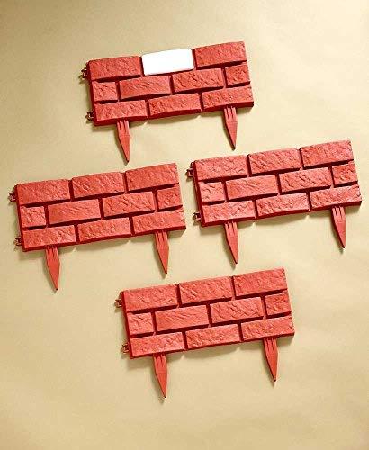- Solar Lighted Brick-Look Borders Terra Cotta