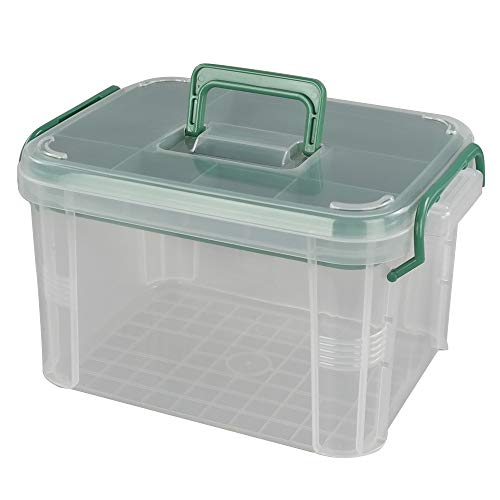 Lesbin Clear First Aid Box Organizer 2 Layers with Compartments, Plastic Handle Storage Box