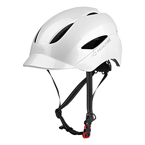 MOKFIRE Adult Bike Helmet with USB Rechargeable Safety Light & Reflective Strap, Urban Commuter Bicycle Helmet CPSC and CE Certified for Adults Men/Women - Adjustable Size - Pearl White