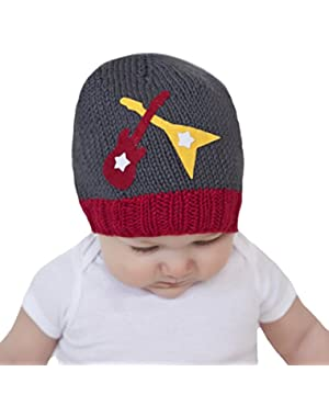 Zooni By Melondipity Gray Baby Boys Hat - Guitar with Dueling Guitar Applique