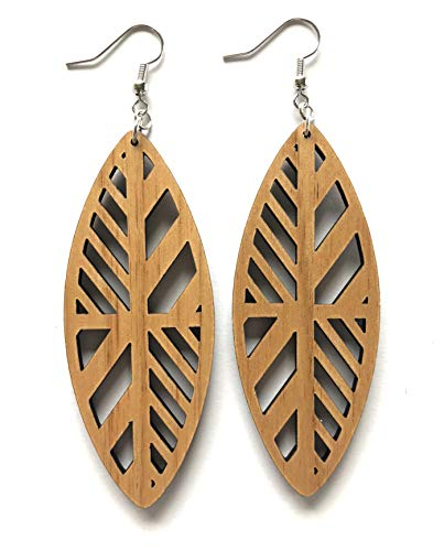 (Grounded Goods Design Pinched Oval Wood Earrings)
