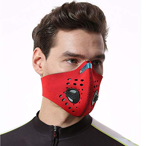 Activated Carbon Dustproof Dust Mask,Mouth Mask Respirator,Half Face Mask,Sport Air Masks, Pollen Allergy Mask, for Cycling,Running,Hiking, Skiing,Woodworking (Red)
