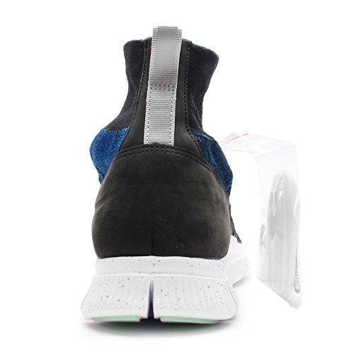 Nike Free Flyknit Mercurial FC, Scarpe da Calcio Uomo Black (Nero / Corridore Blu-bianco Metallico-argento)