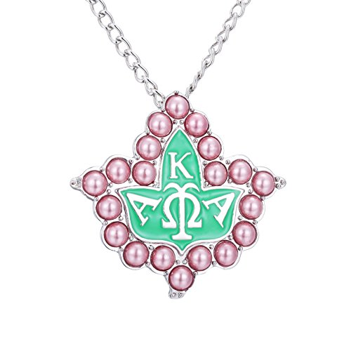 KINGSIN Vintage Pearl Crystal Brooch for Women AKA Sorority Gifts Alpha Kappa Alpha Paraphernalia Jewelry Leaf Pendant Necklace Chain