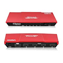 HDMI Splitter, TESmart 4k Ultra HD 4K@60Hz V2.0 Certified 1x4 HDMI Switcher, 1x4 HDMI Switch swicher splitter 1 in 4 Out, HDMI Splitter 1 to 4 Amplifier Switcher Box Hub Powered with Ultra HD 4Kx2K@60Hz 4:4:4 w/EDID Support