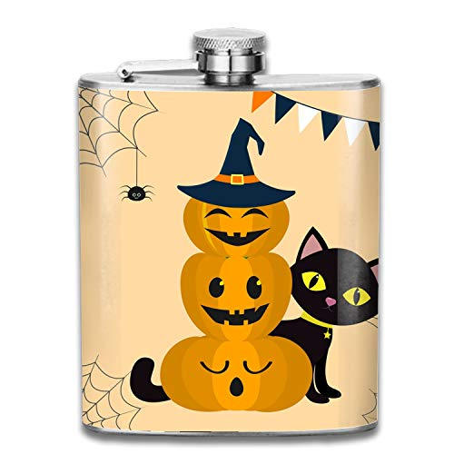Happy Halloween Three Pumpkins Portable 304 Stainless Steel Leak-Proof Alcohol Whiskey Liquor Wine 7OZ Pot Hip Flask Travel Camping Flagon For Man Woman Flask Great Little Gift -