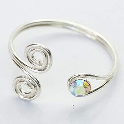 Anillo para el pie ajustable en Plata de Ley 925 con cristal de Swarovski color Aurora Boreal AB