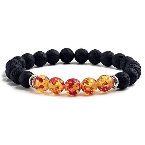 FOKLC Bracelet Natural Volcanic Stone Bracelets Charm Women Men Black Lava Turquoises Strand Bangle Fashion Jewelry