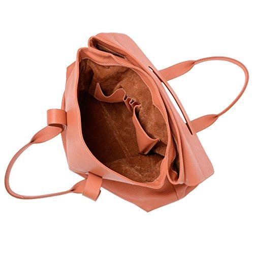 Borsa in pelle donna a spalla grande con doppi manici di DUDU Arancio
