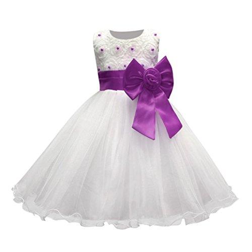 Mädchen Kleider Festlich Kleid Kinderkleidung Longra Blumenmädchen Kleid Brautjungfer Hochzeit Partykleid Abendkleider Blumenspitze Prinzessin Tutu Kleid Purple