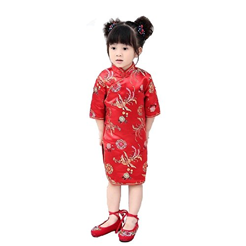 Hooyi Girls Chinese Dragon Phoenix Qipao Half Sleeve Cheongsam Dress Princess Birthday Party Costume (Red Phoenix, -