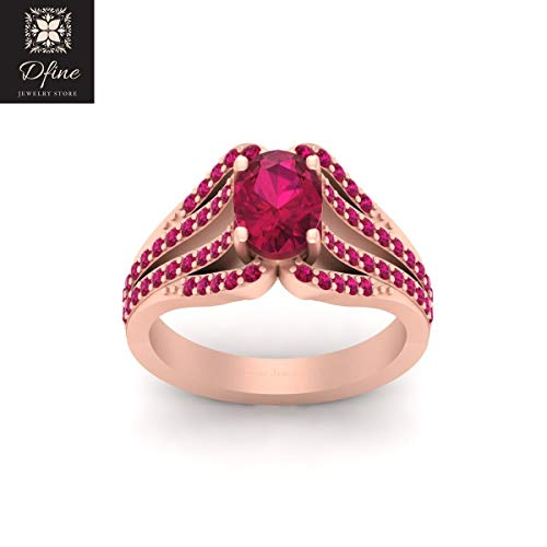 Trellis Set Oval Cut Pink Ruby Wedding Ring Solid 14k Rose Gold Engagement Ring Womens ()