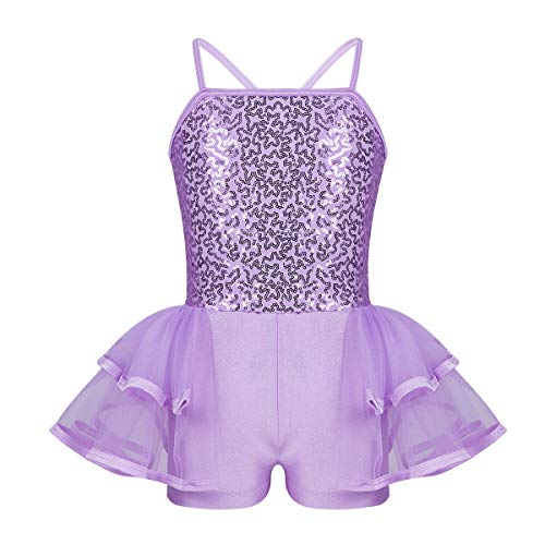 FEESHOW Girls Sequined Camisole Ruffle Tutu Skirted Leotard Princess Dancewear Fancy Dress Costumes Lavender 7-8