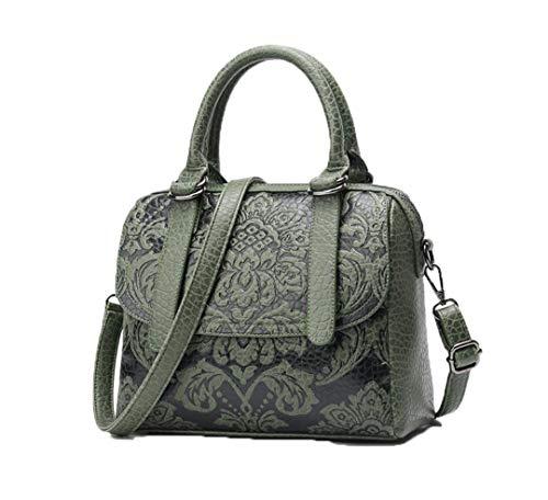 - Luxury Women Boston Vintage PU Leather Tote Bag Embossed Designer Handbags Crossbody Bags GREEN
