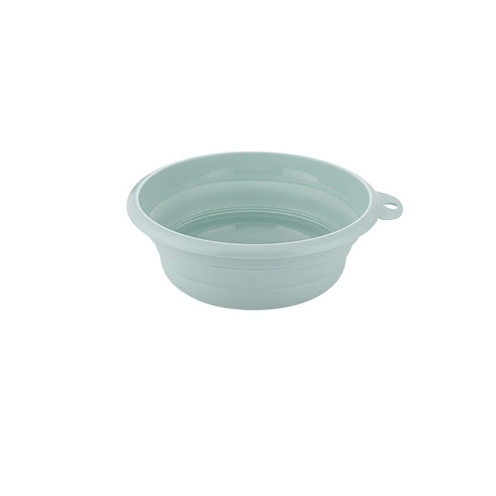 FNCUR Plastic Wash Basin Round Lightweight Washbasin Home Kitchen Use Folding Basin Compressed Water Basin Travel Multi-Function Folding Plastic Washbasin (Color : Green, Size : L) by FNCUR