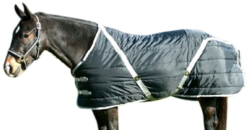 Horse Stable Blanket (High Spirit Snuggie Stable Blanket, 82-Inch, Black/Silver)