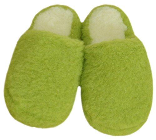 SamWo Schafwoll-Wohlfühl-Hausschuhe/Pantoffeln,Weiche Rutschfeste Sohle,100% Schafwolle SWH 41-42 | Green Pea